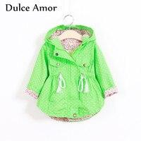 Dulce Amor Autumn Girls Coat Outerwear Hooded Kids Jackets Full Sleeve Polka Dot Girls Windbreaker Coat