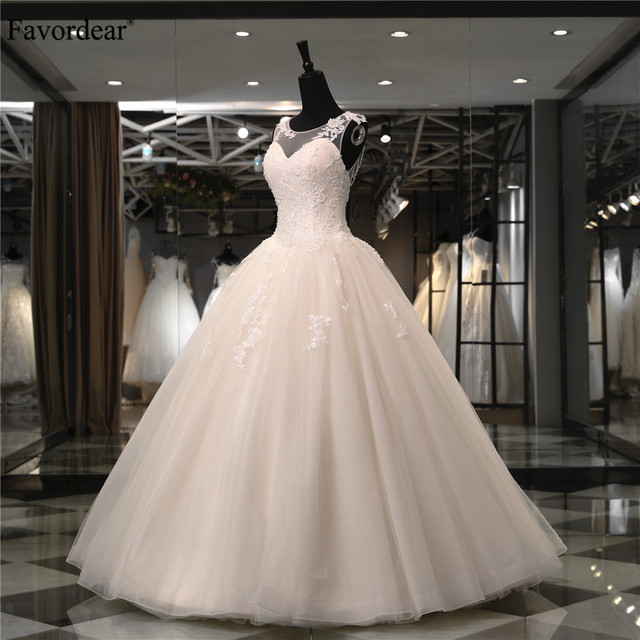 Favordear 2018 New Collection Top Quality Ball Gown Wedding Dress Nestido De Noiva Beaded Back Lace Bridal Gowns