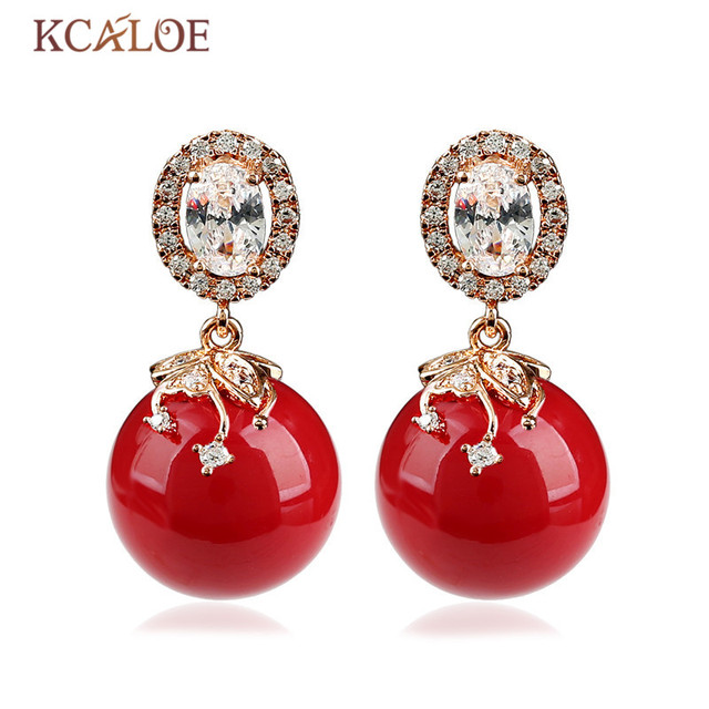 KCALOE Big Earring Fashion Red Simulated Coral Round Ball Rose Gold Color  Luxury Cubic Zirconia Crystal 9a339b1b03fe