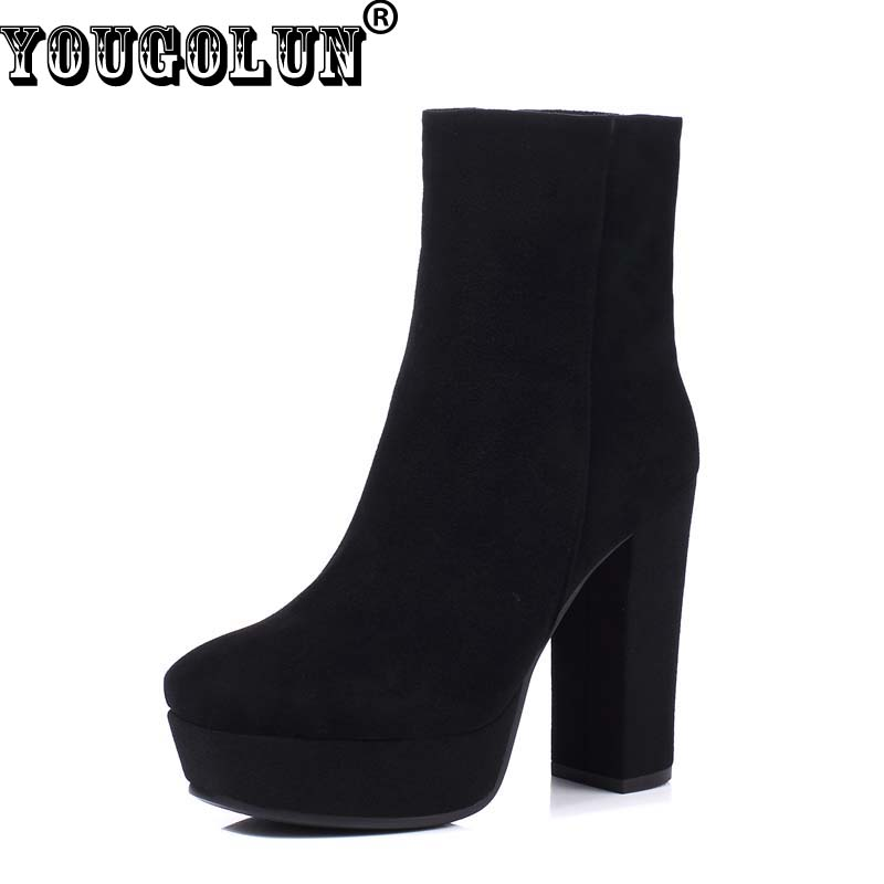 YOUGOLUN Women Ankle Boots Winter Genuine Nubuck Leather Black Thick Heel 12cm Super High Heels Platform Round toe Shoes #Z-065 dropshipping best selling genuine leather super high heel 12cm platform 3 cm evening shoes sexy point toe high heels r243