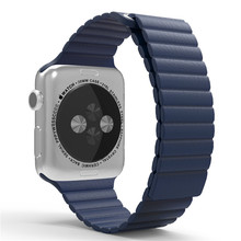 Para Apple Venda de Reloj 42mm Correa de Cuero Banda de Lazo Premium Suave Ajustable Cierre Magnético para iWatch Correa Azul Medianoche