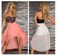 New 2016 Women Pink Lace Top Overlay Long Prom Dance Party Chiffon Dress Strapless Party Gown