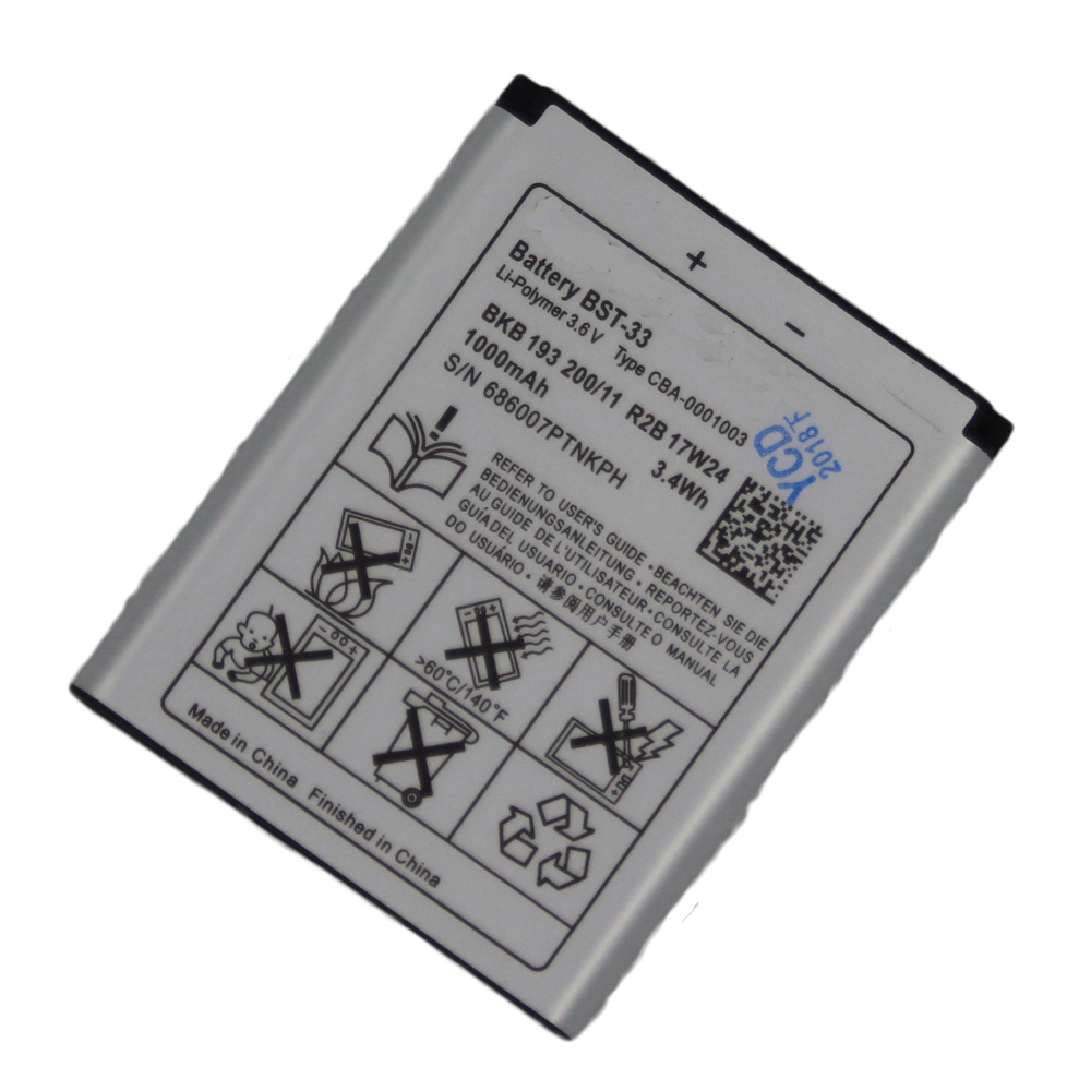 5pcs/lot Battery 950mAh BST-33 For <font><b>Sony</b></font> <font><b>Ericsson</b></font> K800i K810i C702 C903 F305 G900 <font><b>K550i</b></font> K630i K660i W100I T700 T715 BST 33 image