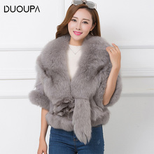 DUOUPA Real Fur Coat New Winter Promotion Whole Skin Fox Leg Hair Short Paragraph Shawl Slim Was Thin Female