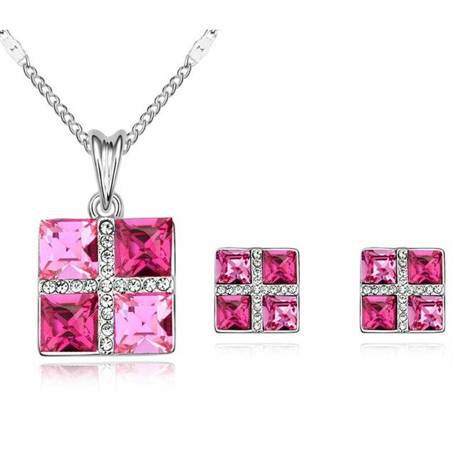 d1b08dd7a507 Simple joyería nupcial Pendientes bisutería China cuadrado de cristal  austriaco pequeña declaración collar 3 opciones