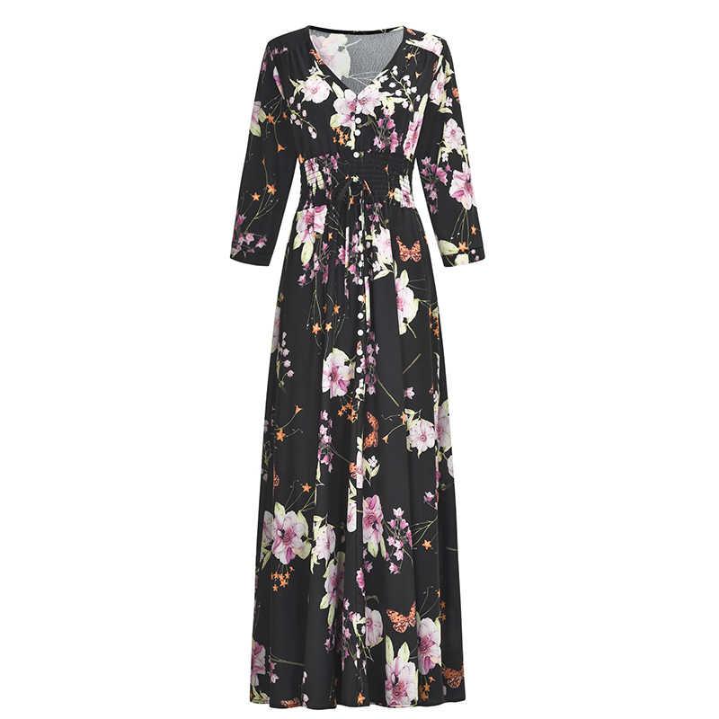 Винтаж летнее платье Для женщин 2019 пикантные Повседневное с v-образным вырезом с цветочным принтом в стиле бохо пляжное для вечеринки элегантные дамские платья Длинные Maxi Dress Vestidos