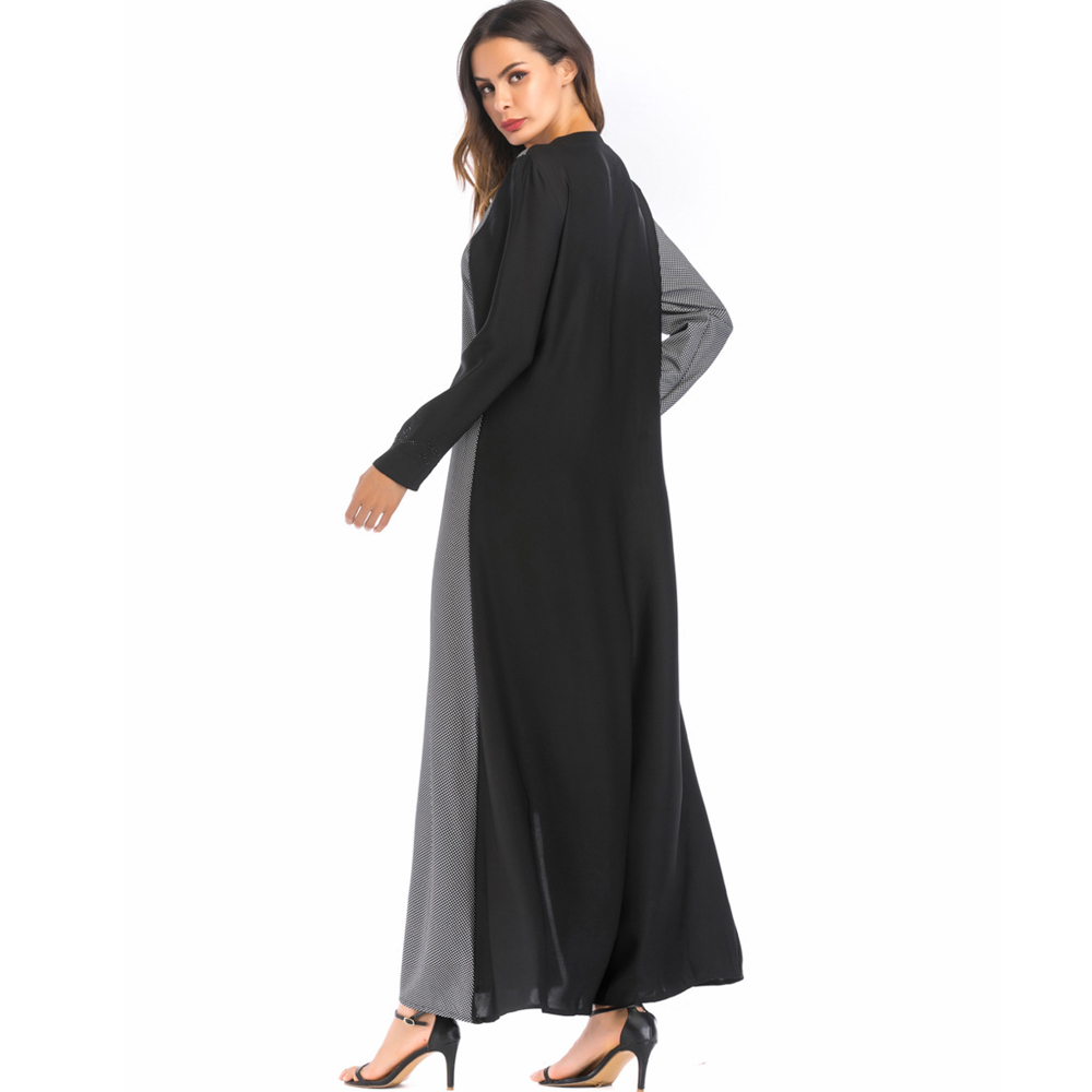 Photo Casual Medio No Largo Manga Musulmanes Ramadán Contraste Color Larga Moda Abaya Mujeres cuello Oriente Vestido O De Eid Hijab zHdpqqgw