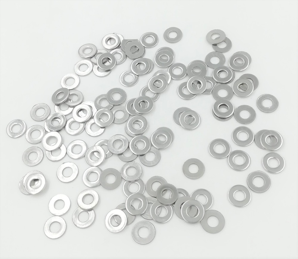 купить 100Pcs M2 M2.5 M3 M3.5 M4 M5 M6 M8 304 Stainless Steel Flat Machine Washer Plain Washer недорого