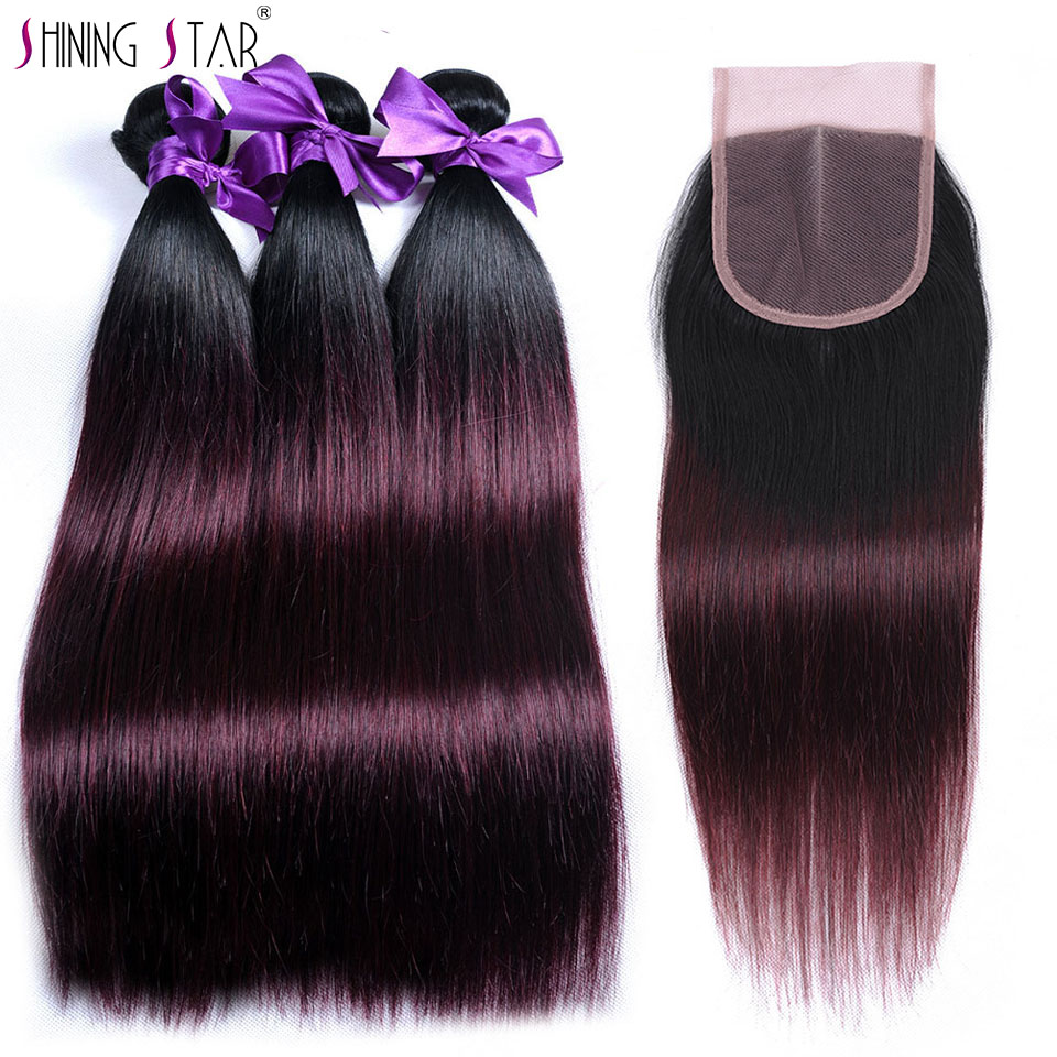 Ombre Peruvian Hair 3 Bundles With Closure 1B Red/Burgundy Straight Human Hair Bundle With Closure Shining Star Non Remy Hair