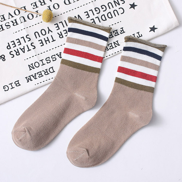 Women Socks Japanese New Colorful Stripes Color Matching Ladies Cotton Middle Tube Sock Fashion Street Wild Calcetines 4