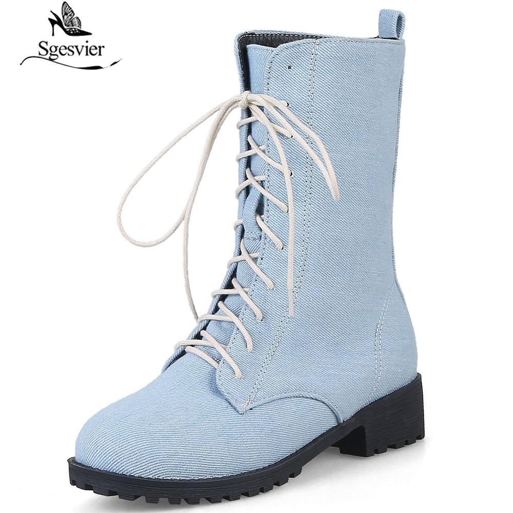 Up Sgesvier Noir Jeans Chaussures Fur Chunky Femmes Talons Deepblue Med Denim plus 2018 46 Bottes Cheville Bleu deep Lace 33 Lightblue B837 Black Nouvelles light Blue Casual Taille plus Blue plus w6qXr7Hx6