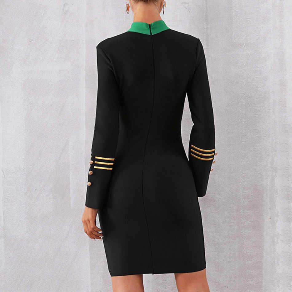 DressBird женское платье осень зима облегающее платье с длинными рукавами Сексуальное черное мини-зимнее Клубные платья на пуговицах Vestidos