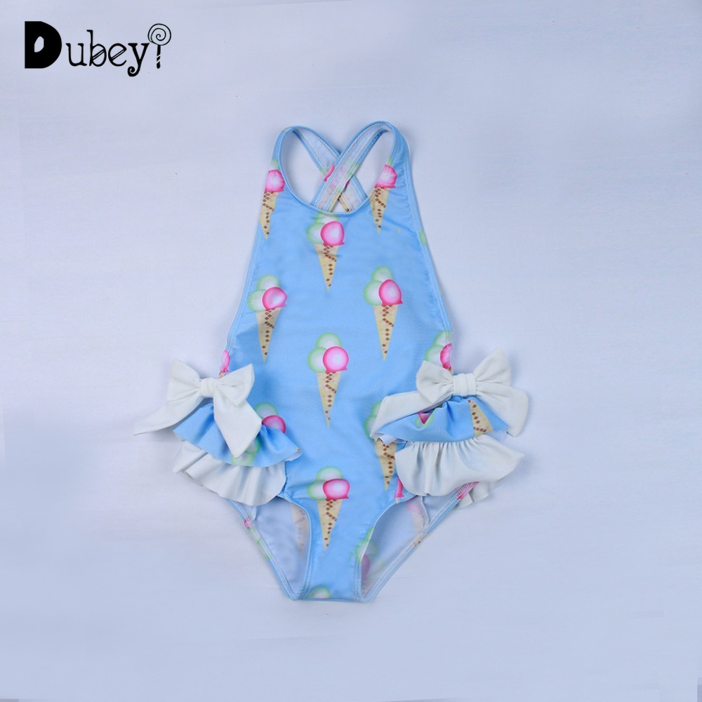 Baby Ice Cream Swimwear Kids Beach Costume Swimwear Girls One Piece Children 2-6 Years Old Swimwear for Girls