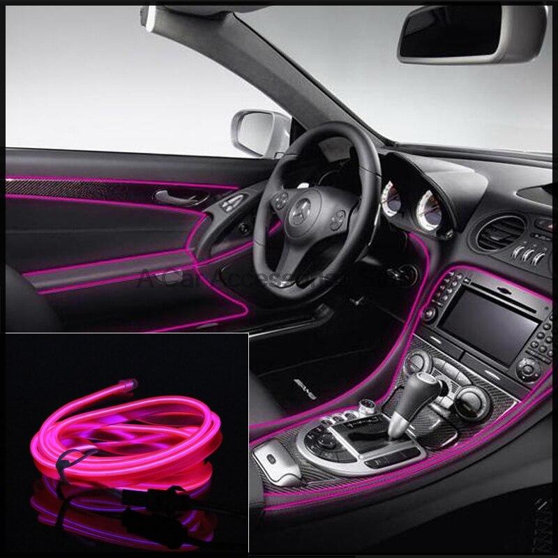 2M DIY LED EL Wire Rope Decoration 12V Auto Car Interior Tube Neon ...