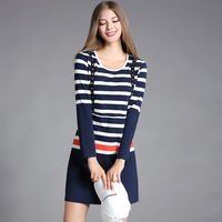 SAVOIL 2017 Autumn New Fat Beauty Large Size Women's European And American Striped Pattern Short Section Was Thin Dress