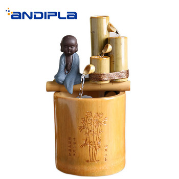 110/220V Bamboo Ceramic Lovely Monk Water Fountain Office Desktop Mini Decoration Crafts Feng Shui Waterscape for Wedding Gifts