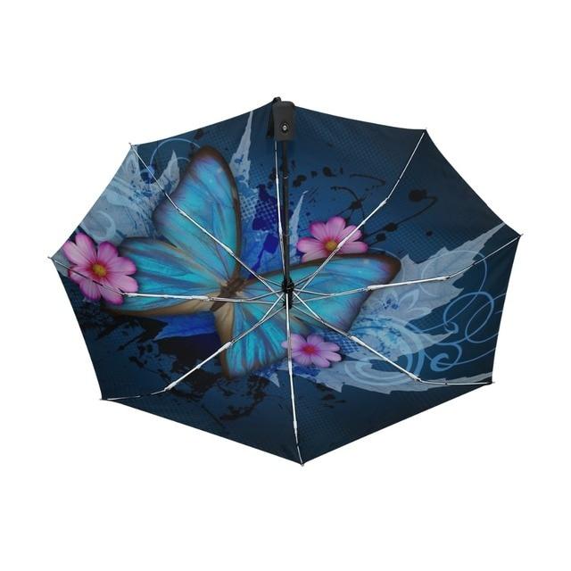 New Fashion Butterfly Over Flowers Print Women's Automatic Umbrella 3 Folding Rain Sun Protection Umbrella Male Portable Parasol 3