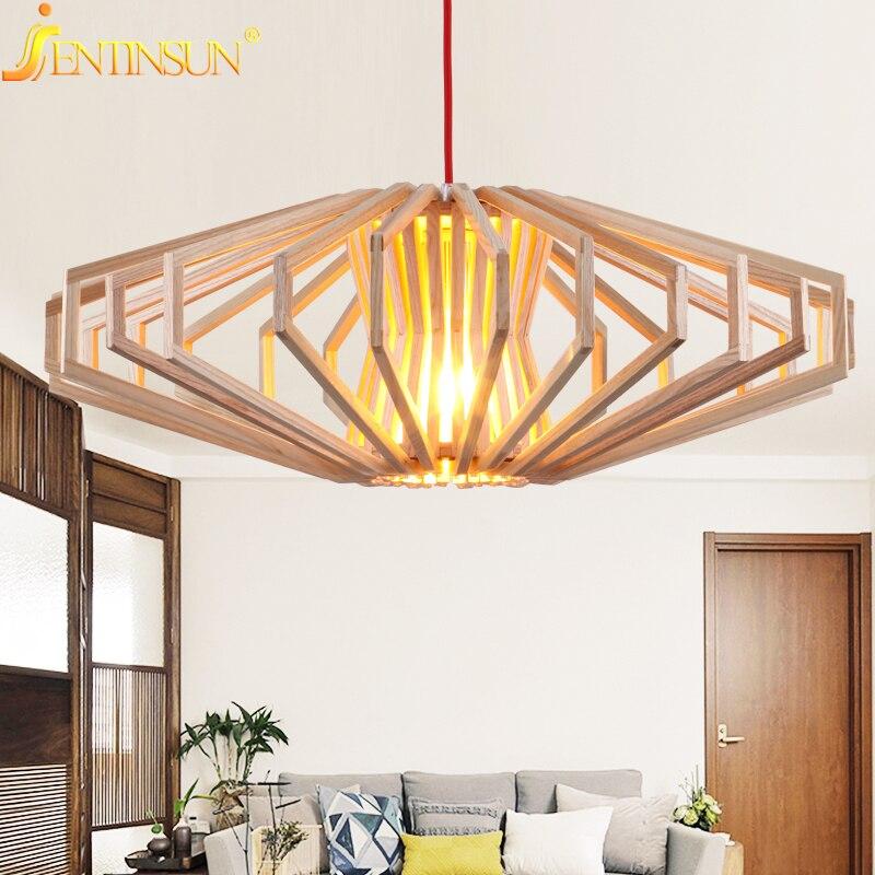 Modern Art Wooden Pendant Lights Japanese Style Hanging Wood personality Lamps Dinning Room Restaurant Light Fixtures Luminaire