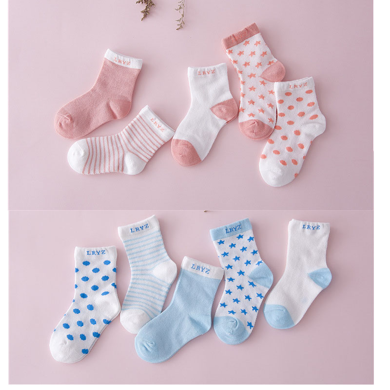 5 Pair=10PCS/lot 2017 New Dot Kids Socks Summer Thin Comfortable Breathable Cotton Fashion Baby Socks Toddler Girls for 0~6 Year