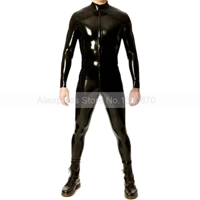 Front Zip <font><b>Latex</b></font> Rubber Man Bodysuit Sexy Tight <font><b>Catsuit</b></font> Customes S-LCM097 image