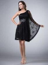 Little Black Dress Short A-linie Einer Schulter Spitze Prom Kleider Schwarz Knie-Länge Cocktailkleider Mit Einem Ärmel cd7922
