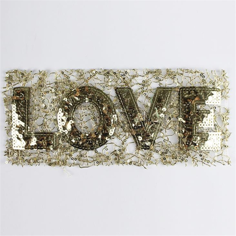 Sequins letters patch 25cm golden love deal with it iron on patches for clothing 3d t shirt mens, t shirt Women free shipping