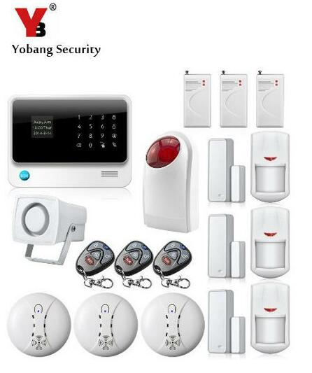 YoBang Security Android IOS APP Touch Screen GSM Wireless Burglar Alarm System 433MHZ Smoke Fire Detector Wireless Outdoor Alarm