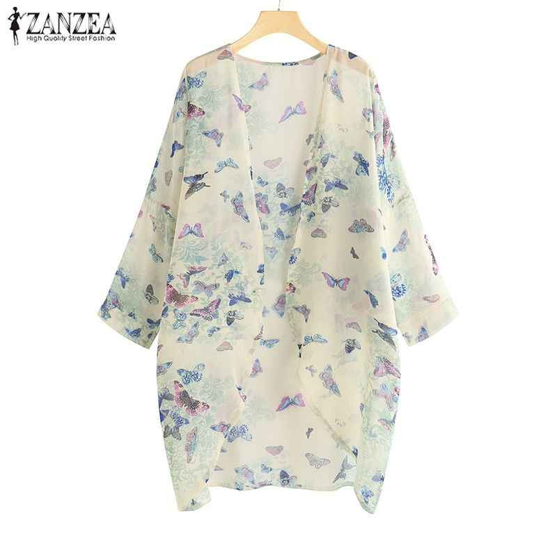 2019 плюс размер ZANZEA летние модные повседневные кардиганы для женщин с принтом вечерние шифоновые длинные кардиганы блузка Коув ап кимоно женские