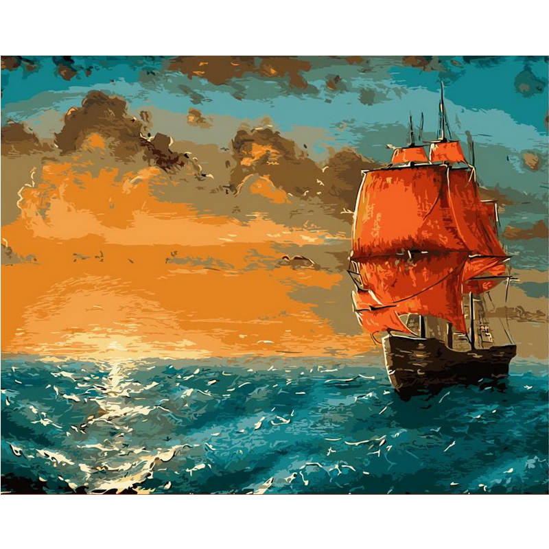 Diy Digital Oil Painting By Numbers Sea Boat Picture