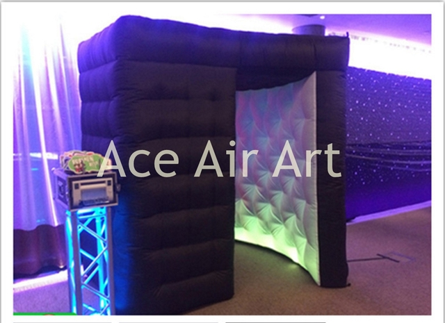 Portable BLACK wedding tent inflatable photo booth. Curved spiral photo canopy for festival party