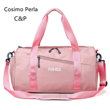 Pink Women Travel Bag with Shoe Compartment Waterproof Sport Gym Bags Dry Wet Pocket Fitness Yoga Portable Large Duffel Handbags