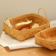 Ручной работы деревянная корзина прямоугольные уши хлеб с фруктами закуски для пикника корзины zakka главная органайзера