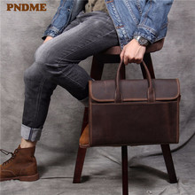 PNDME retro business simple crazy horse cowhide mens briefcase daily waterproof laptop bag genuine leather work shoulder bags