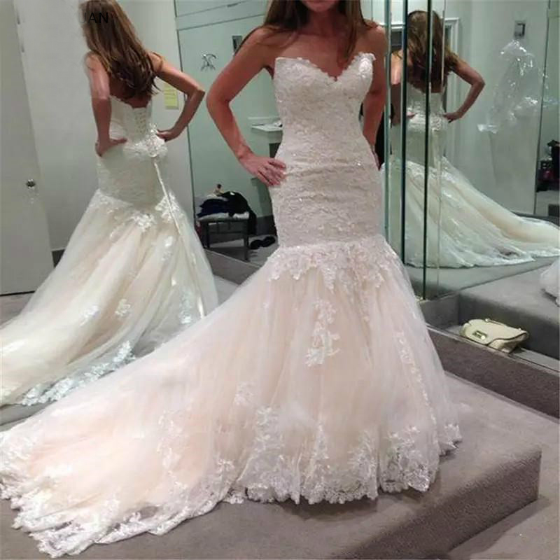 Luxury Lace Mermaid Wedding Dresses 2019 Beaded V Neck Sleeveless Appliques Long Vestido De Novia Corset Back Bridal Gowns