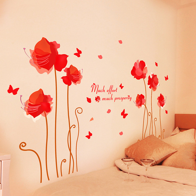 Red Flowers Wall Art Living Room DIY Removable Wall Poster Bedroom ...