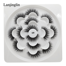 LANJINGLIN 7 pairs natural long mink eyelashes cruelty free 3d false lashes extension makeup fake eyelash faux cils mink lash