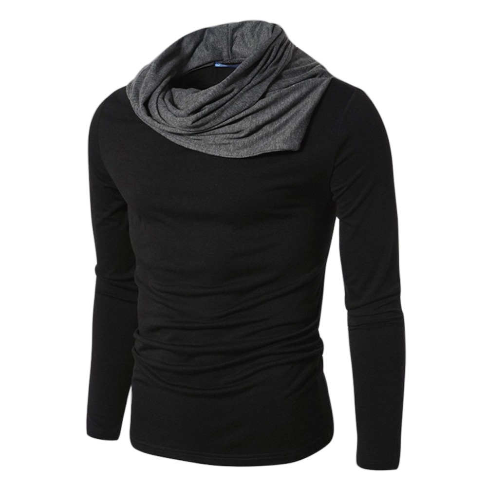 Lisli brand clothes mens long sleeve pullovers turtle neck for Full black t shirt