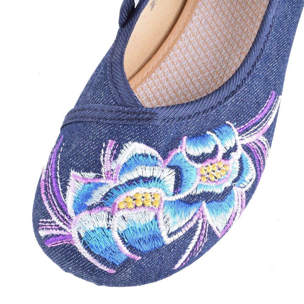 Femme Femmes Appartements Casual Taille bleu Brodé Fleur Janes Mary Pour Marche De Plus La Ballet Chinois Printemps rouge Beige Plat 41 Danse Chaussures dr0AqIwr