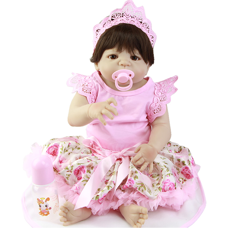 Free Shipping 23 White Skin Reborn Baby Dolls with Pacifier Realistic Full Silicone Reborn Babies Handmade