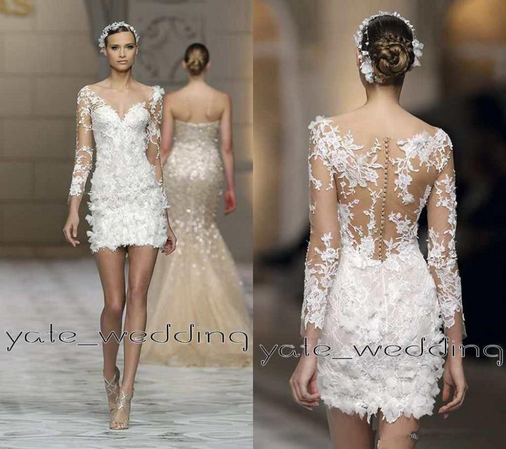 2016 Sexy Short Lace Wedding Dresses V Neck Illusion Long ...