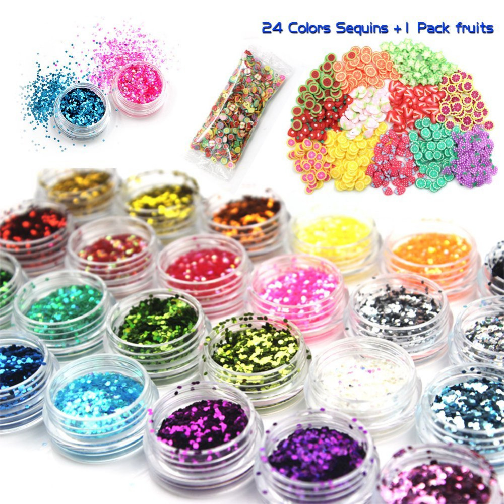 24 Colours Slime Glitter Sequins with 1000 Pieces Fruit Slices for Sparkling Decoration Glitter DIY Toys