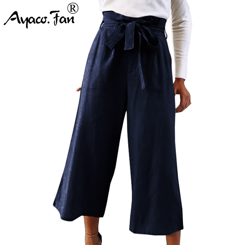 Plus Size 5XL Women   Wide     Leg     Pants   Summer New Elegant High Waist Loose Ankle-Length   Pants   with Sashes Trousers OL Culottes   Pants