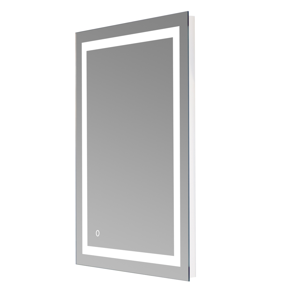 Square Wall Mount Bathroom Makeup Mirror Silver Aluminum Touch Screen LED Bathroom Vanity Mirror Lights with Magnifying Mirror