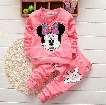 03853747c4 2018 nuevos conjuntos de Ropa para Niñas Minnie ropa de algodón para niños  conjuntos de camisa de manga larga + pantalones traje de niñas Minnie  conjuntos ...