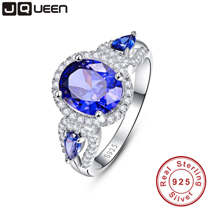 Wedding Brand Tanzanite Ring 925 Solid Sterling Sølv Mote Smykker Ny 2016 Unikt Design For Kvinner Luksus Merk Med Box