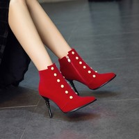Big Size 11 12 13 14 15 16 17 European and American sexy pointed slim high heel side zipper wicker string pearl boots