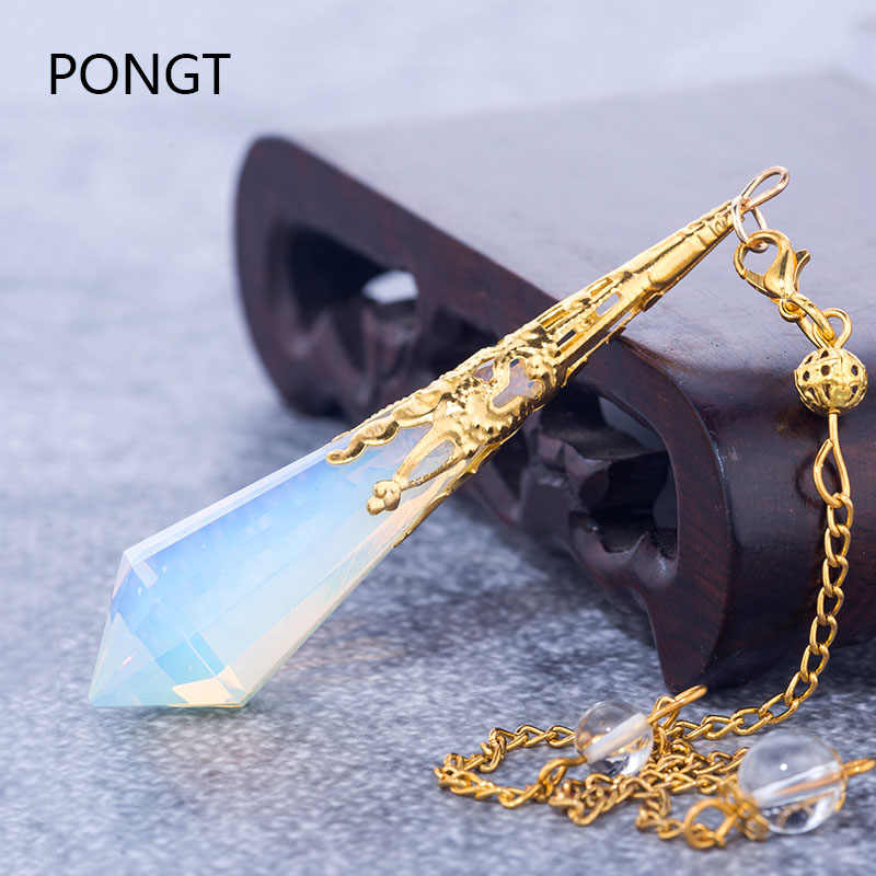High quality Natural stone pendulum for dowsing quartz Opalite opal pendulos sacred geometry healing crystals pendant jewelry