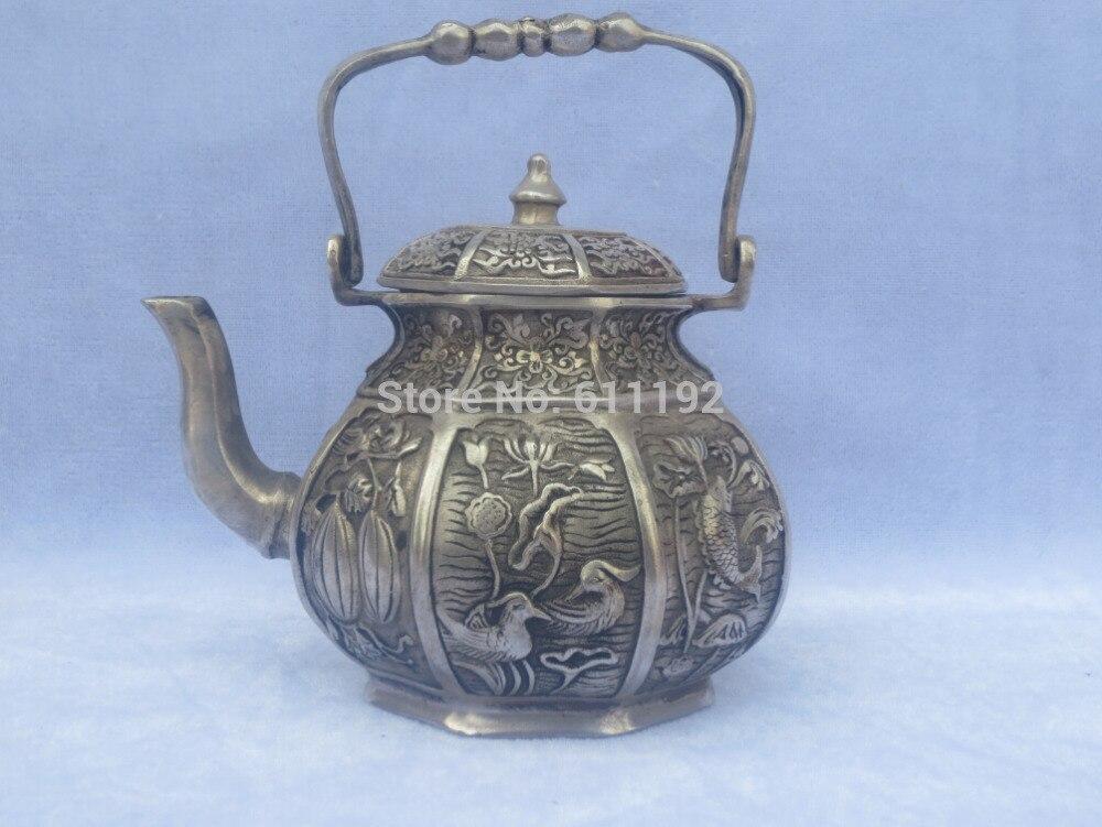 Livraison gratuite Antique Imitation décoration de la maison tibet théière en argent, Qing dynastie vin pot en métal artisanat