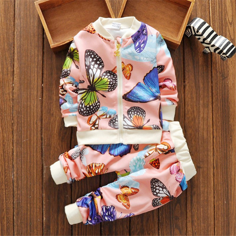 New Toddler Girls Sets Kids Clothing Set Butterfly Print Girls Jogging Sets Kids Sport Suits Baby Girl Clothes Costumes For Girl