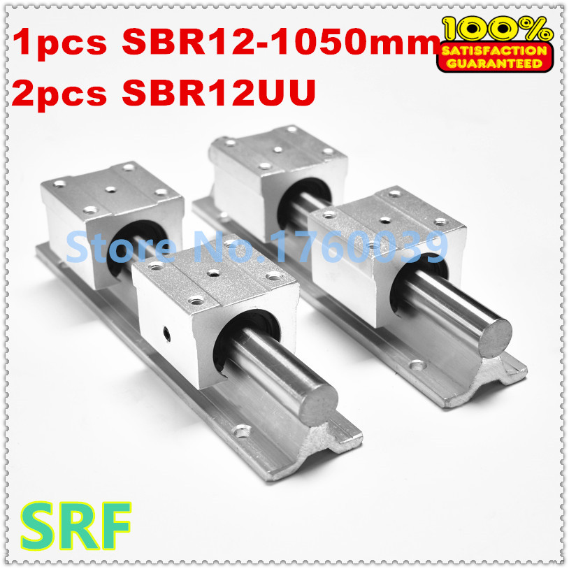 Best price 2pcs 12mm linear shaft rail SBR12 L1050mm shaft support rail+4pcs SBR12UU bearing block for 12mm linear shaft support 2pcs 12mm linear rail sbr12 l600mm linear guide rail 4pcs sbr12uu bearing block for cnc